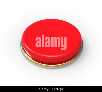 Red button, isolated on white. - Stock Photo