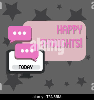 Writing note showing Happy Thoughts. Business concept for good idea opinion produced by thinking or occurring mind Monitor and Two Speech Balloon with - Stock Photo