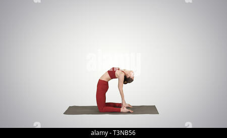 Sporty beautiful young woman practicing yoga, doing Ushtrasana, Camel Pose on gradient background. - Stock Photo