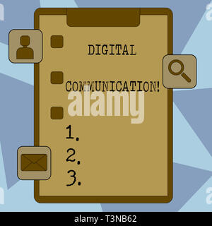 Text sign showing Digital Communication. Business photo showcasing exchange of data that transmits in a digital form Clipboard with Tick Box and 3 App - Stock Photo