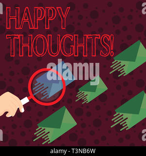Handwriting text writing Happy Thoughts. Conceptual photo good idea opinion produced by thinking or occurring mind Magnifying Glass on One Different C - Stock Photo