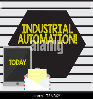Word writing text Industrial Automation. Business photo showcasing Use of control systems to handle industrial process Open Envelope with Paper and Bl - Stock Photo