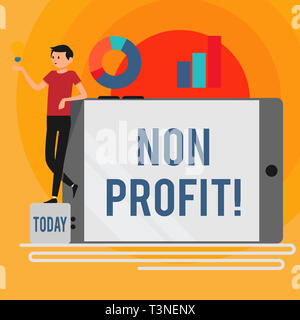 Word writing text Non Profit. Business photo showcasing not making or conducted primarily to make profit organization Man Leaning on Blank Smartphone  - Stock Photo