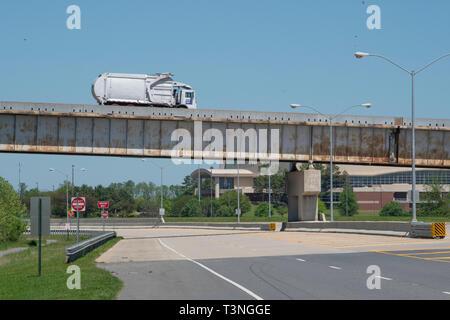 SHREVEPORT-BOSSIER CITY, LA., U.S.A. - April 9, 2019: The Jimmie Davis Bridge, built in 1968, crosses the Red River, connecting Shreveport to Bossier  - Stock Photo