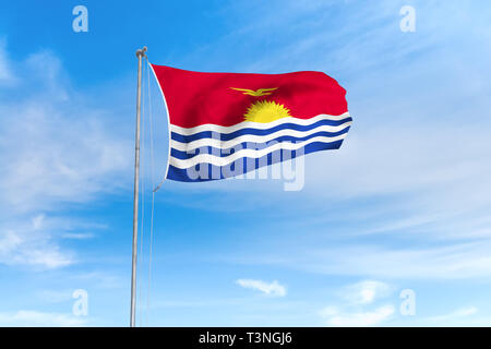 Kiribati flag blowing in the wind over nice blue sky background - Stock Photo