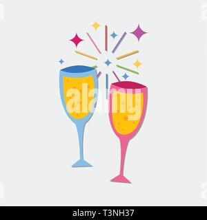 toasting two wine vector symbol  illustration - Stock Photo