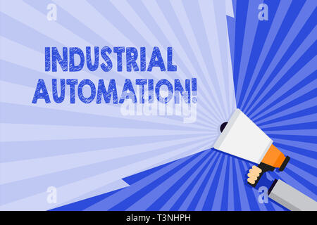 Word writing text Industrial Automation. Business photo showcasing Use of control systems to handle industrial process Hand Holding Megaphone with Bla - Stock Photo
