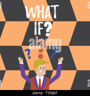 Word writing text What If Question. Business photo showcasing when you are asking about condition or supposition Confused Businessman Raising Both Arm - Stock Photo