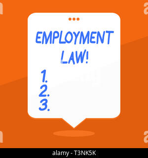 Handwriting text writing Employment Law. Conceptual photo encompassing all areas of employer employee relationship Blank Space White Speech Balloon Fl - Stock Photo