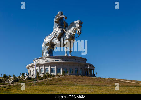 Tsonjin boldog, Mongolia - September 14, 2018: The giant Genghis Khan Equestrian Statue is part of the Genghis Khan Statue Complex on the bank of the  - Stock Photo