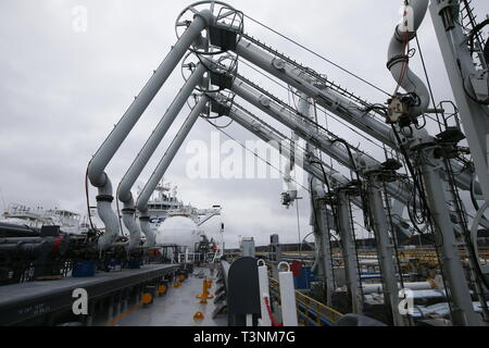 Russia. 10th Apr, 2019. LENINGRAD REGION, RUSSIA - APRIL 10, 2019: Manifold at the Mendeleev Prospect oil tanker operated by Sovcomflot moored at the Primorsk Commercial Seaport, the end point of the Baltic Pipeline System. The Mendeleev Prospect is an Aframax class tanker running on liquefied natural gas. Alexander Ryumin/TASS Credit: ITAR-TASS News Agency/Alamy Live News - Stock Photo