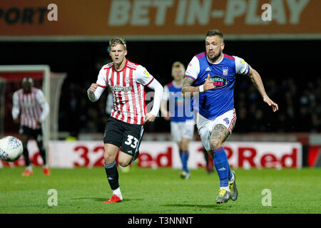 London, UK. 10th Apr, 2019. during the EFL Sky Bet Championship match between Brentford and Ipswich Town at Griffin Park, London, England on 10 April 2019. Photo by Carlton Myrie. Editorial use only, license required for commercial use. No use in betting, games or a single club/league/player publications. Credit: UK Sports Pics Ltd/Alamy Live News - Stock Photo