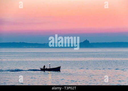 Newlyn, Cornwall, UK. 11th Apr, 2019. UK Weather. A chilly but glorious start to the day at Newlyn at sunrise. Seen here fishing boat from Newlyn. Credit: Simon Maycock/Alamy Live News - Stock Photo