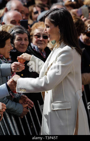Madrid, Spain. 11th Apr, 2019. Queen Letizia attends the opneing of the exhibition 'Angeli' of sacred art in Lerma, Spain on the 11th of April of 2019. April11, 2019. Credit: Jimmy Olsen/Media Punch ***No Spain***/Alamy Live News - Stock Photo