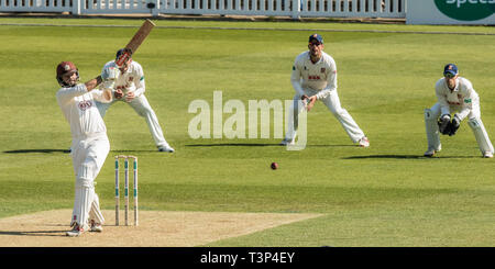 London, UK. 11th Apr, 2019. Ben Foakes batting as Surrey take on Essex on day one of the Specsavers County Championship match at the Kia Oval. Credit: David Rowe/Alamy Live News - Stock Photo