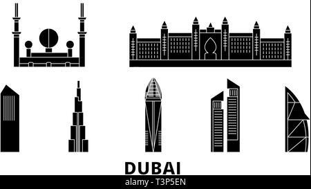 United Arab Emirates, Dubai City flat travel skyline set. United Arab Emirates, Dubai City black city vector illustration, symbol, travel sights - Stock Photo