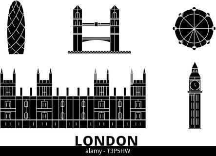United Kingdom, London City flat travel skyline set. United Kingdom, London City black city vector illustration, symbol, travel sights, landmarks. - Stock Photo