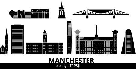 United Kingdom, Manchester flat travel skyline set. United Kingdom, Manchester black city vector illustration, symbol, travel sights, landmarks. - Stock Photo