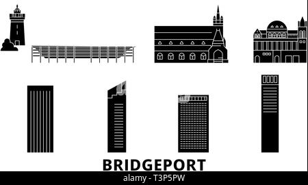 United States, Bridgeport flat travel skyline set. United States, Bridgeport black city vector illustration, symbol, travel sights, landmarks. - Stock Photo