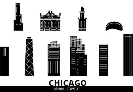 United States, Chicago flat travel skyline set. United States, Chicago black city vector illustration, symbol, travel sights, landmarks. - Stock Photo