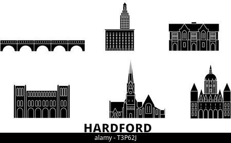 United States, Hartford flat travel skyline set. United States, Hartford black city vector illustration, symbol, travel sights, landmarks. - Stock Photo