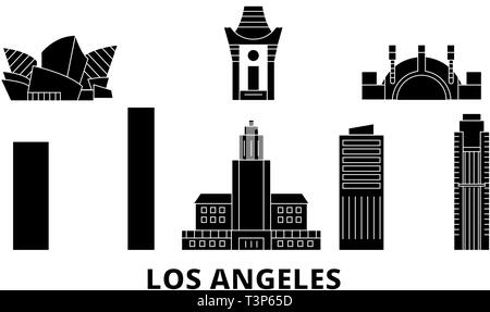 United States, Los Angeles City flat travel skyline set. United States, Los Angeles City black city vector illustration, symbol, travel sights - Stock Photo