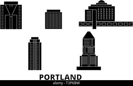 United States, Portland City flat travel skyline set. United States, Portland City black city vector illustration, symbol, travel sights, landmarks. - Stock Photo
