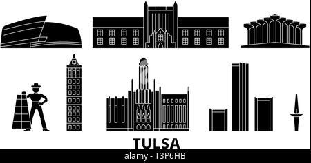United States, Tulsa flat travel skyline set. United States, Tulsa black city vector illustration, symbol, travel sights, landmarks. - Stock Photo
