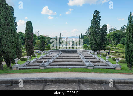 Sao Paulo - SP, Brazil - February 19, 2019: Independence park, Parque da Independencia. Fountain with no water for restoration, dry fountain. - Stock Photo
