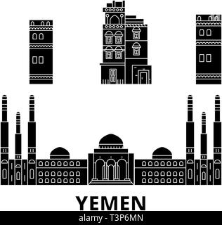 Yemen, Sanaa flat travel skyline set. Yemen, Sanaa black city vector illustration, symbol, travel sights, landmarks. - Stock Photo