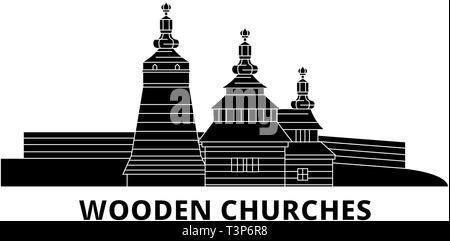 Poland, Wooden Churches In The Carpathian Mountain Area flat travel skyline set. Poland, Wooden Churches In The Carpathian Mountain Area black city - Stock Photo