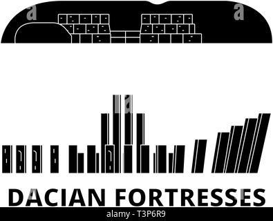 Romania, Dacian Fortresses, Orastie Mountains flat travel skyline set. Romania, Dacian Fortresses, Orastie Mountains black city vector illustration - Stock Photo