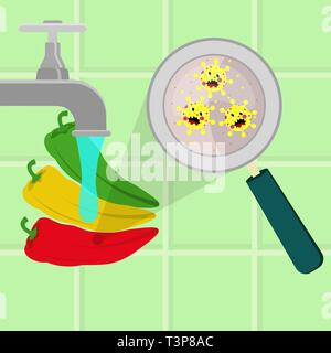 Chilli pepper contaminated with cartoon microbes being cleaned and washed in a kitchen. Microorganisms, virus and bacteria in the vegetable enlarged b - Stock Photo