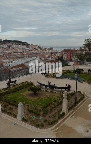 Panoramic Views Of The Alfama District Of Lisbon And The San Pedro De Alcantara Garden In Lisbon. Nature, architecture, history, street photography. A - Stock Photo