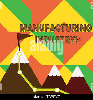 Word writing text Manufacturing Industry. Business photo showcasing Engage in the transformation of goods and products Three Mountains with Hiking Tra - Stock Photo