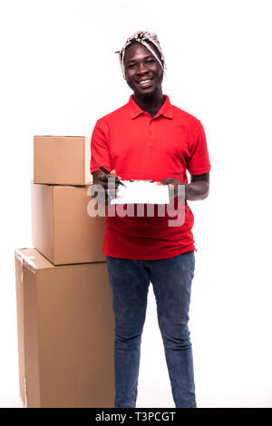 Delivery Concept - Portrait of Handsome African American delivery man or courier showing a confirmation document form to sign. Isolated on Grey studio - Stock Photo
