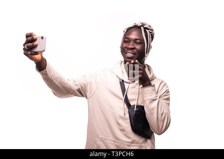 Portrait of african man make take selfies or video call gesturing isolated white background - Stock Photo