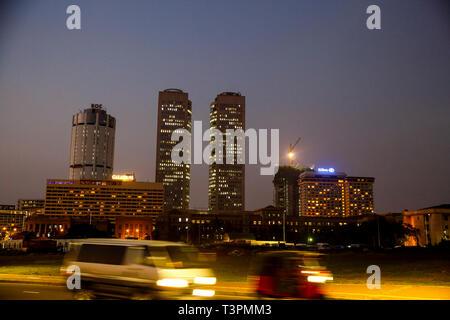 Night view of Colombo City, Sri Lanka - Stock Photo
