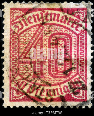 Postage stamp from the German Realm in the Official Stamps series issued in 1920 - Stock Photo