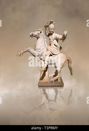 Roman marble sculpture of a warrior on horseback, a 2nd century AD copy from an original 2nd century BC Hellanistic Greek original, inv 6405, Naples M - Stock Photo