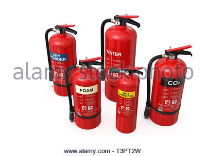 Group of ten different types of red fire extinguishers (CO2, foam, dry powder, wet chemical, water); clean, minimalist and clear composition - Stock Photo
