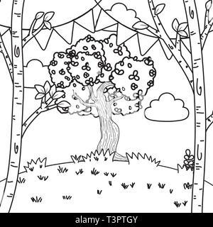 festive party outdoor scene cartoon vector illustration graphic design vector illustration graphic design - Stock Photo