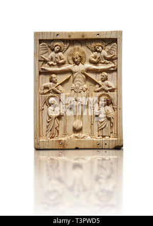 Medieval elephant ivory plaque with traces of paint made in Italy in the 13th or start of the 14th century.  The crucifixion is a rare example of a Go - Stock Photo