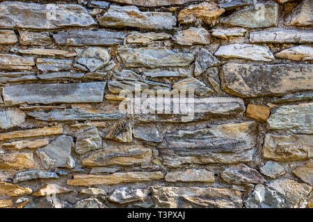 Old stone fence texture background in the Bulgarian village of Krepost, Haskovo Province - Stock Photo