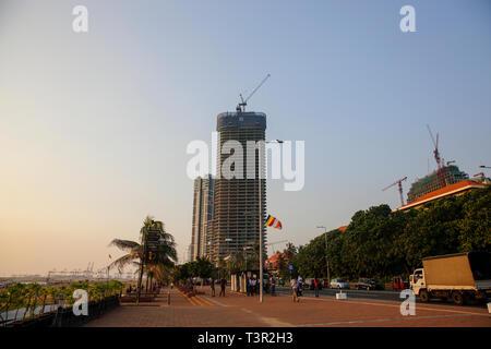 Under-construction high ridge building in Colombo city, Srilanka - Stock Photo