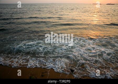 Sunset at the Galle Face Beach in Colombo, Sri Lanka. - Stock Photo
