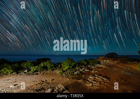Star trails above mangrove lined rocky shore of Cape Leveque, Dampier Peninsula, Western AustraliaAustralia, Western Australia - Stock Photo