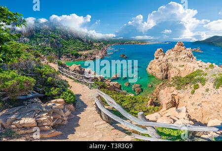 Landscape of Costa Paradiso with Spiaggia di Li Cossi, Sardinia - Stock Photo