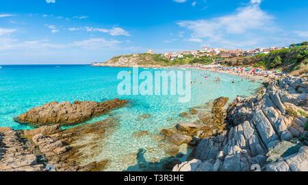 Santa Teresa Gallura, Sardinia island, Italy - July 10, 2018: Rena Bianca beach, north Sardinia island, Italy - Stock Photo