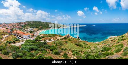 Landscape with Santa Teresa Gallura and Rena Bianca beach, north Sardinia island, Italy - Stock Photo